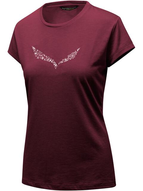 Salewa Solid Dri-Release Bluzka z krótkim rękawem Kobiety czerwony